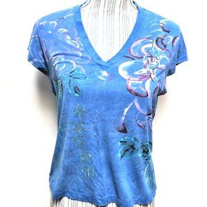 Chico's Blue V-neck Watercolor Abstract Floral 1